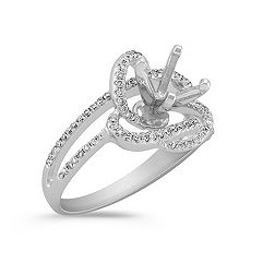 Round Diamond Floral Ring with Pavé Setting
