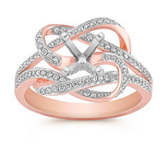 Swirl Diamond Ring in 14k Rose Gold