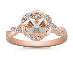 Halo Swirl Diamond Engagement Ring with Pavé Setting