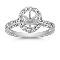 Vintage Halo Diamond Engagement Ring with Pavé Setting