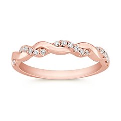 Swirl Diamond Wedding Band in Rose Gold with Pavé Setting