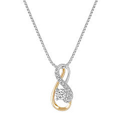 Diamond Pendant in Two-Tone Gold (18)