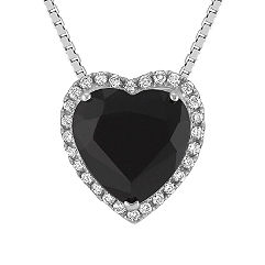 Heart Shaped Black Sapphire and Round Diamond Pendant (18 in.)