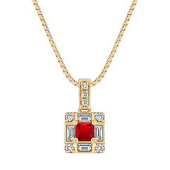 Princess Cut Ruby, Baguette and Round Diamond Square Pendant (18 in.)