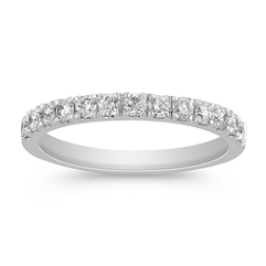 Classic Diamond Wedding Band in Platinum with Pavé Setting