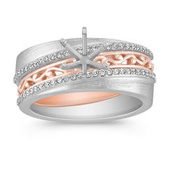 Pavé Set Diamond Wedding Set in Two-Tone Gold for Her