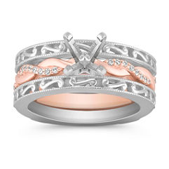 Swirl Diamond Wedding Set with Pavé Setting in Two-Tone Gold