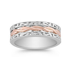 14k White and Rose Gold Ring For Him (8mm)
