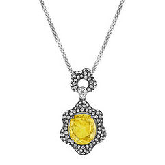 Rose Cut Oval Yellow Sapphire, Pear Shape and Round Diamond Pendant with Black Rhodium (22 in.)