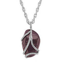 Rough Ruby and Round Diamond Pendant (18 in.)