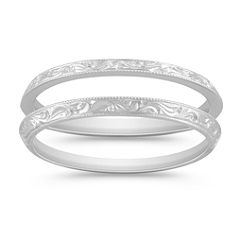 Vintage 14k White Gold Double Wedding Band