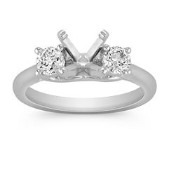 Diamond Three-Stone Engagement Ring in Platinum
