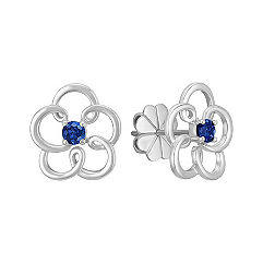 Floral Sapphire Earrings in Sterling Silver