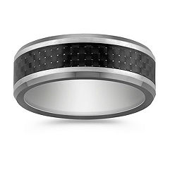 Max- T Titanium Comfort Fit Ring with Carbon Fiber Accent (7.5mm)
