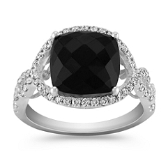 Square Cut Black Sapphire and Round Diamond Ring