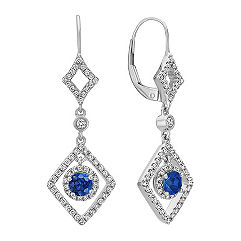 Dangle Sapphire and Diamond Earrings