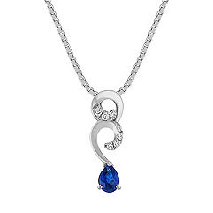 Swirl Pear Shaped Sapphire and Diamond Pendant (18 in.)