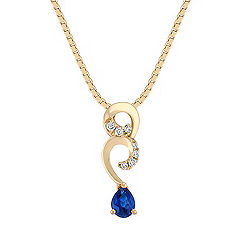 Pear Shaped Sapphire and Diamond Swirl Pendant (18 in.)