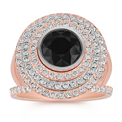 Round Black Sapphire and Diamond Ring in 14k Rose & White Gold