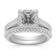 Halo Diamond Wedding Set with Pavé Setting for Her
