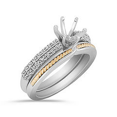 Diamond Two-Tone Gold Wedding Set with Pavé Setting for Her