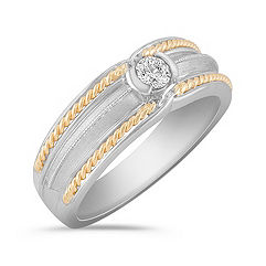 Bezel Set Diamond Ring in Two-Tone Gold for Him (8mm)