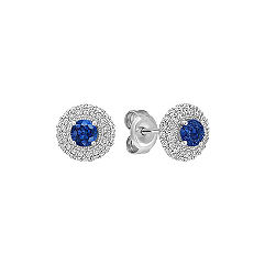 Round Sapphire and Diamond Cluster Earrings