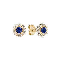Round Diamond and Sapphire Cluster Earrings