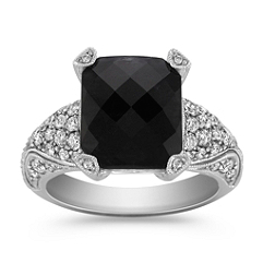 Emerald Cut Black Sapphire and Round Diamond Vintage Ring