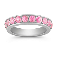 Pink Sapphire Wedding Band for Her