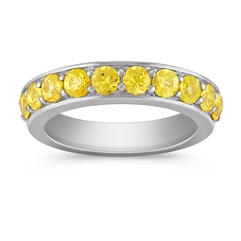 Yellow Sapphire Wedding Band for Her