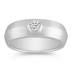 Round Diamond Ring with Bezel Setting for Him