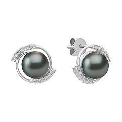 Diamond and 8mm Cultured Tahitian Pearl Earrings