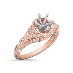 Vintage Diamond Engagement Ring in Rose Gold with Pavé Setting