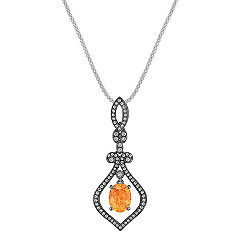 Vintage Oval Orange Sapphire and Round Diamond Pendant with Black Rhodium (22 in.)