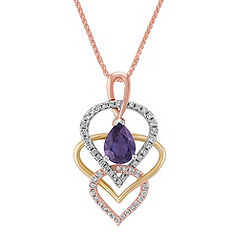 Pear Shaped Lavender Sapphire and Round Diamond Pendant in Tri-Tone Gold (18 in.)
