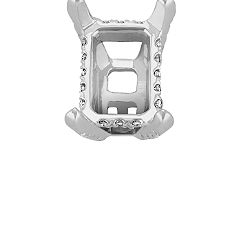 Diamond Alexa Head to Hold up to .75 ct. Emerald Cut Stone