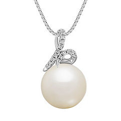 11mm Cultured South Sea Pearl and Diamond Pendant (18 in.)