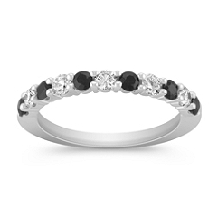 Round Black Sapphire and Diamond Wedding Band