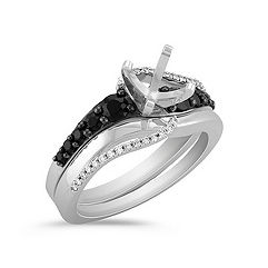 Swirl Round Black Sapphire and Diamond Wedding Set with Black Ruthenium