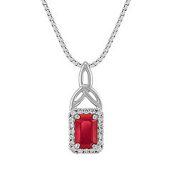 Emerald Cut Ruby and Round Diamond Pendant (18 in.)