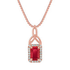 Emerald Cut Ruby and Diamond Pendant in Rose Gold (18 in.)