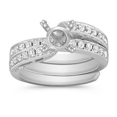 Vintage Swirl Diamond Wedding Set with Pavé Setting