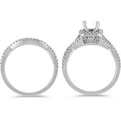 Swirl Halo Diamond Wedding Set with Pavé Setting