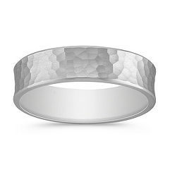 14k White Gold Ring with Hammered Finish (6mm)