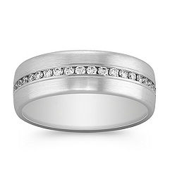 Diamond Channel Set Ring with Satin Finish