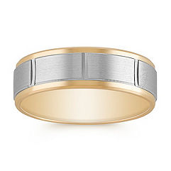 Engraved 14k White and Yellow Gold Comfort Fit Ring (7mm)