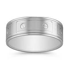14k White Gold Engraved Ring (8mm)