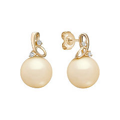 10mm Cultured Golden South Sea Pearl and Diamond Earrings