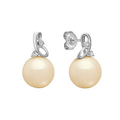 10mm Cultured Golden South Sea Pearl and Round Diamond Earrings